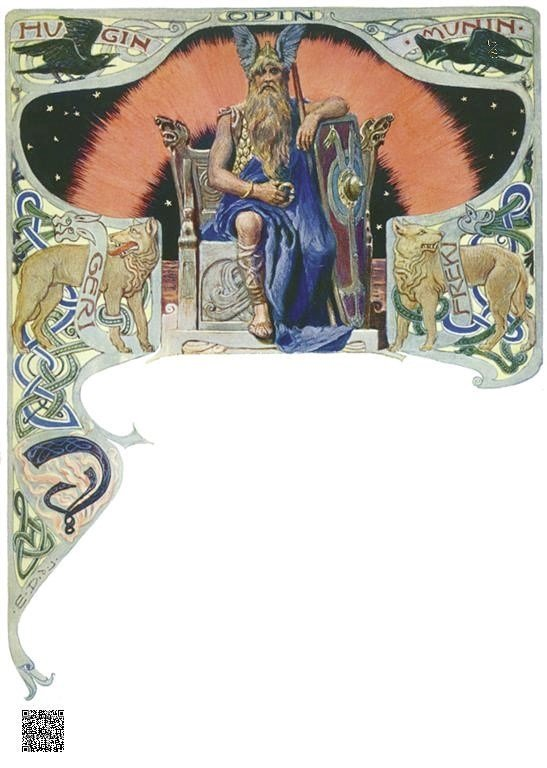 09-Odin, Hugin, Munin, Geri, Freki