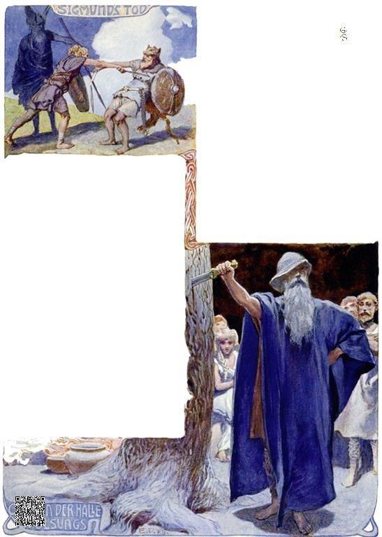 14-Sigmund's dood-Odin in de hal van de Volsungen