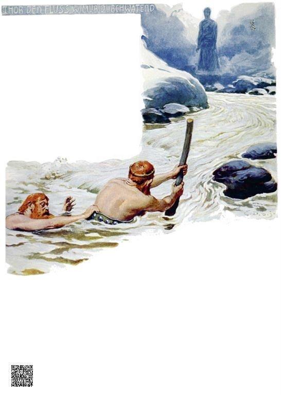 19-Thor waadt door de rivier de Wimur
