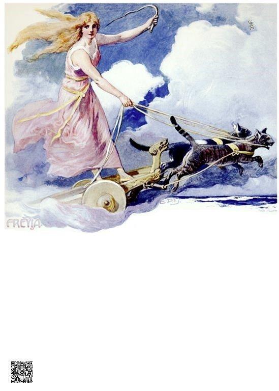 30-Freyja in haar door katten getrokken wagen