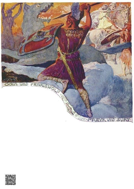 47-Gevecht - Odin-Fenriswolf en Freyr-Surtr